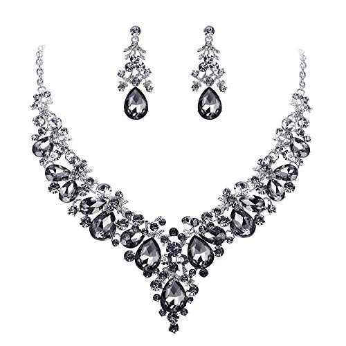 EVER FAITH Women's Crystal Bridal Banquet Floral Cluster Teardrop Necklace Earrings Set Grey Silver-Tone