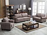 Harper&Bright Designs Fabric Living Room Sofa Set Collection Taupe with Curled Handrails and Nail Head Trim (Chair&Loveseat&Sofa) Review