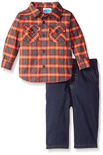 Crimson Plaid - Bon Bebe Baby Boys' 2 Piece Longsleeve Collared Botton Front Shirt with Woven Pant, Crimson Plaid, 18 Months