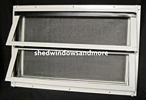 """Crank Out Shed Window 24"""" X 16"""" White Jalousie Type Storage Building Barn Shed"""