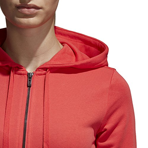 adidas Women's Essentials Linear Full Zip Fleece Hoodie, Real Coral/White, X-Small by adidas (Image #3)