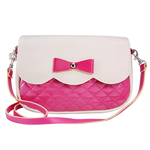 Outtop Women Girl Bowknot Shoulder Bag Casual Handbag Contracted Style Tourism Package (Hot Pink) - Purse For Girls