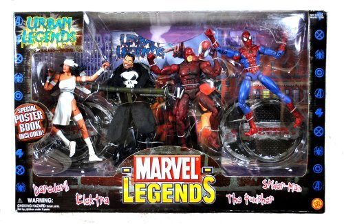 ToyBiz Year 2003 Marvel Legend Series 4 Pack 6 Inch Tall Action Figure Set - URBAN LEGENDS with DAREDEVIL, ELEKTRA, THE PUNISHER and SPIDER-MAN Figures Plus 4 Display Stands and Special Poster Book