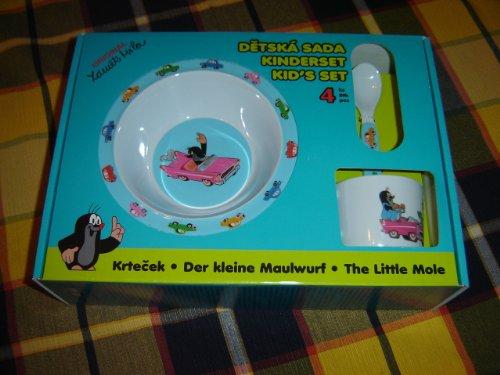 The Little Mole Krtek and the Auto Kid's Dining Set of Plate, Deep Plate, Spoon, and Cup / Der Kleine Maulwurf Kinderset / Sada Nadobi Krtek / Kisvakond 4 Darabos Etkeszlet / Set-tableware 2 Plates, 1 Cup, 1 Spoon / Made in the Czech Republic