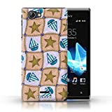 STUFF4 Phone Case / Cover for Sony Xperia J (ST26i) / Brown/Blue Design / Boat/Stars Pattern Collection / by Deb Strain / Penny Lane Publishing, Inc.