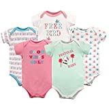 Luvable Friends 5-Pack Hanging Bodysuits are made of 100% cotton for the softest touch on your baby's gentle skin. Bodysuits are essential to any baby's wardrobe, and these bodysuits are so comfortable that they can be used as underwear or even on th...