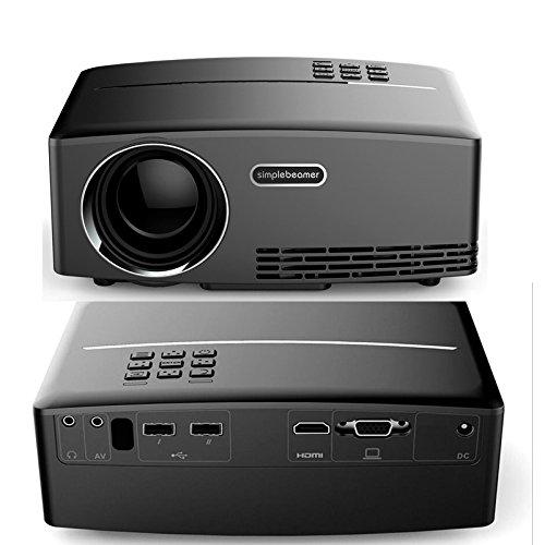HIMIミニポータブルプロジェクターLCD 1800ルーメン800x480フルHD LEDビデオホームシネマサポートVGA TVオンラインサポートレッド&ブルー3Dバージョン [並行輸入品] B071G2872N