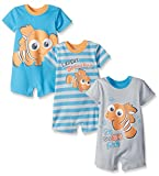 Disney Baby Finding Nemo 3 Pack Rompers, Blue, 12 Months