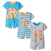 Disney Baby Finding Nemo Rompers, Blue, 6 Months (Pack of 3)