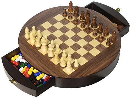 Walnut Round 3 in 1  Game Set (1 Walnut 12 Inch Board)