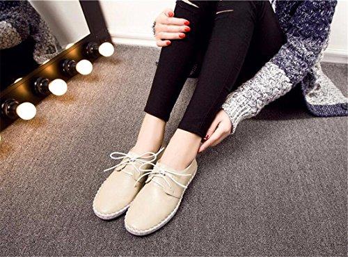 QIYUN.Z Frauen Entspringen Weich Flach Kuhhaut Spitzen-Up-Mädchen Beiläufige Runde Zehe Skate Einzigen Schuh Cremefarbig