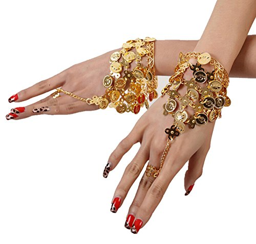 Ewandastore Belly Dance Gold Triangle Bracelet Gypsy Jewelry Coin Bracelet Hand Decoration Wrist Bangle Ring,Halloween Costume (Rings Costume Accessories)