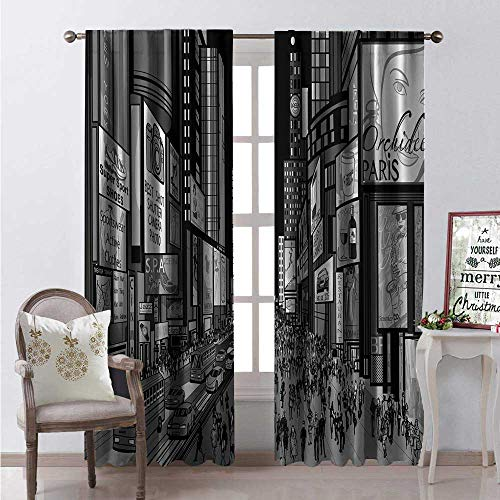 Hengshu Broadway Window Curtain Fabric Night View of Times Square in New York Dreamy Place in America Drapes for Living Room W96 x L84 Charcoal Grey Pale Taupe White