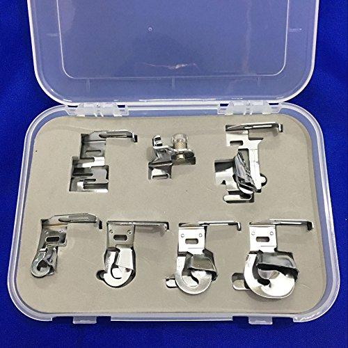 YEQIN 7 piece Low Shank Bias Binder Rolled Hem Hemmer Edge Stitcher Foot Set #CY-007-002