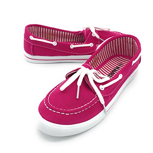 Blue Berry EASY21 Canvas Lace Up Flat Slip On Boat Comfy Round Toe Sneaker Tennis Shoe, Fuchsia 6