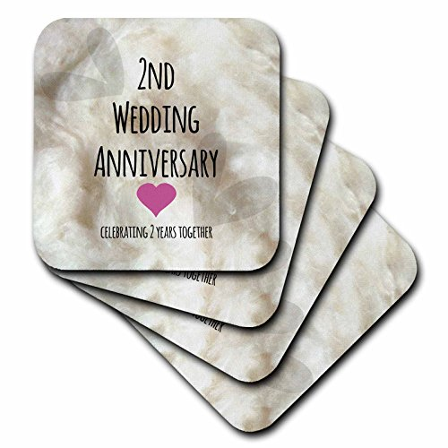 3dRose Cst 154429 1 2Nd Wedding Anniversary Gift Cotton Celebrating 2 Years Together Second Anniversaries Two Yrs Soft Coasters Set Of 4