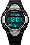 Kids Watch, Lightweight Silicone Waterproof Children Digital Wristwatch with Alarm LED Back Light Stopwatch for Boys Girls Outdoor Sports Swimming - Black
