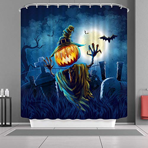 FORHAPPY VANCAR Happy Halloween Shower Curtain Pumpkin Scarecrow Horrible Tomb Moon Night Waterproof Mildew Resistant Fabric Polyester Bathroom Curtain 66