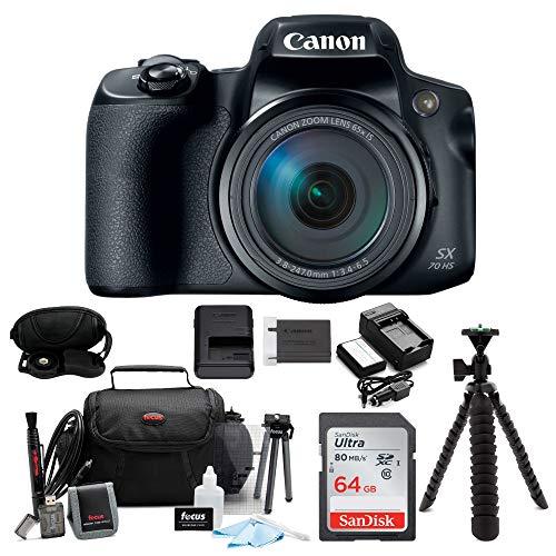 Canon PowerShot SX70 HS 65x Optical Zoom Digital Camera w/ 64GB SD Card Bundle (Canon Powershot Best Model)