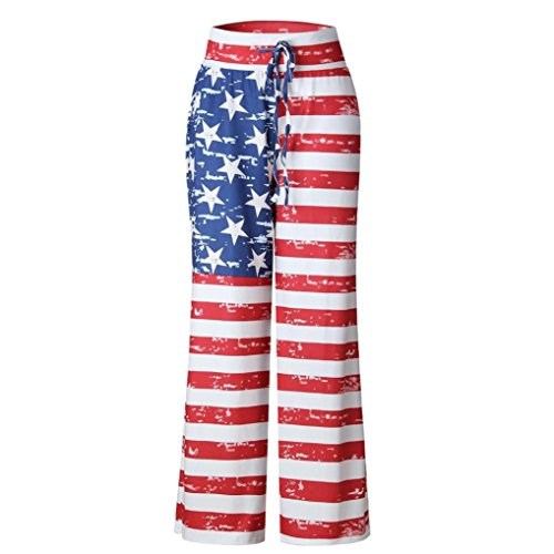 iYBUIA Women American Printed Flag Drawstring Wide Leg Pants Leggings(Multicolor,M)