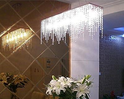 7PM Modern Linear Rectangular Island Dining Room Crystal Chandelier Lighting Fixture