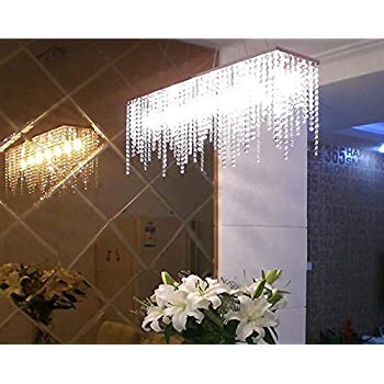 7PM Modern Linear Rectangular Island Dining Room Crystal Chandelier Lighting Fixture Medium L32