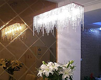 7pm modern linear rectangular island dining room crystal chandelier lighting fixture medium l32 - Linear Dining Room Light Fixtures