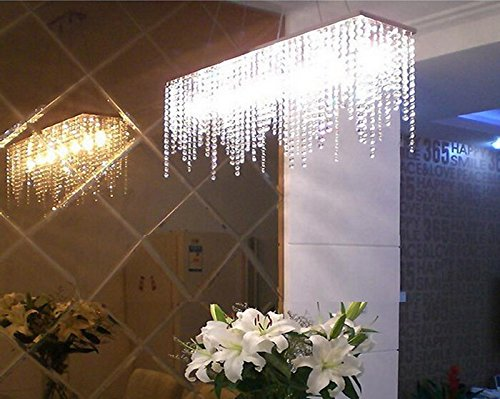 7PM Modern Linear Rectangular Island Dining Room Crystal Chandelier  Lighting Fixture (Large L40u0026quot;)