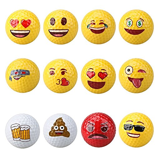Dsmile Golf Balls,2-Ply Professional Practice Golf Balls,Set of 12 Emoji Designs