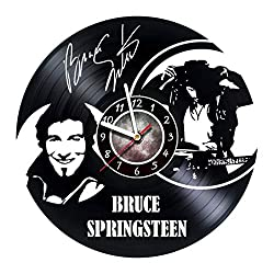 lokoARTplace Bruce Springsteen Singer-Songwriter Clubhouse Wall Clock Made of Vinyl Record Great Gifts idea for Birthday Wedding Anniversary Women Friends (1)