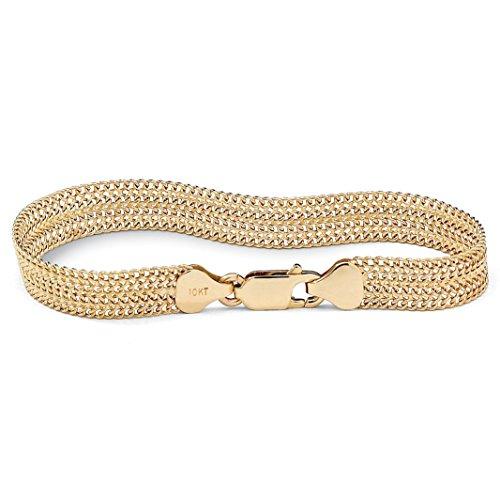 10K Yellow Gold Mesh Link Bracelet (7.5mm), 7.25