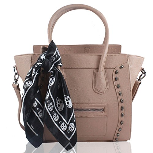 Inspired Designer Handbag Bag (Womens Designer Celebrity Inspired Faux Leather Stylish Tote Smile Skull)