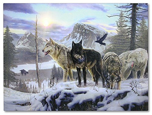 Wolves LED Lighted Sun Canvas Print Home Decor - Wolves Crossing a Frozen Snowy Winter Forest with Majestic Mountain Landscape - 16x12 Inch