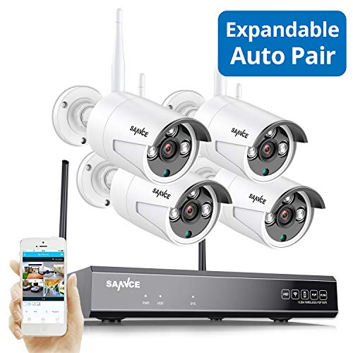 【Update Expandable】 Wireless Security Camera System, SANNCE 1080P 8CH NVR and 4 pcs 960P IP66 Weatherproof Surveillance Cameras,Indoor/Outdoor with 100FT Night Vision, NO HDD Included