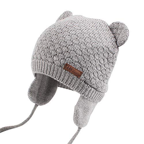 XIAOHAWANG Warm Baby Hat Cute Bear Toddler Earflap Beanie for Fall Winter (7-15Months, Grey)