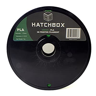 HATCHBOX 3D PLA-1KG1.75-GRN PLA 3D Printer Filament, Dimensional Accuracy +/- 0.05 mm, 1 kg Spool, 1.75 mm, Green