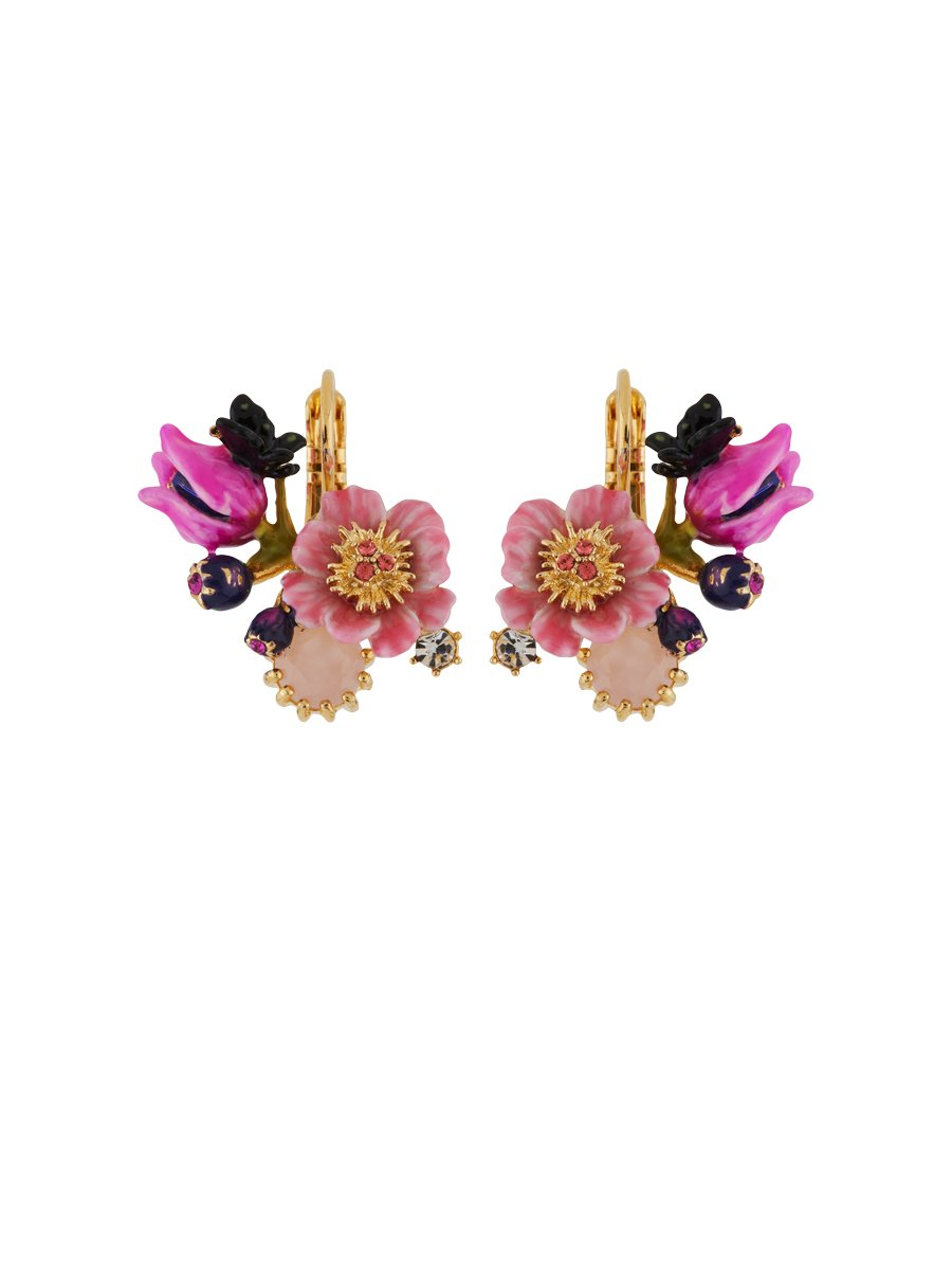 Les Néréides Winter In Giverny Pink Flowers, Buds and Faceted Glass Post Earrings - Pink