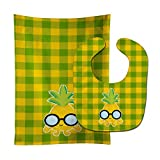 Caroline's Treasures Pineapple Face with Glasses Baby Bib & Burp Cloth, Multicolor, Large