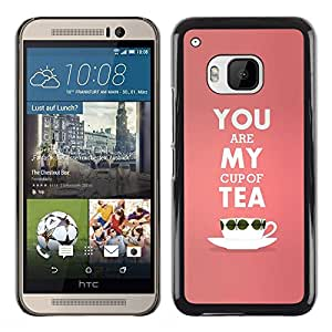 iKiki Tech / Estuche rígido - My Cup Of Tea Peach Pink Love Text Valentines - HTC One M9