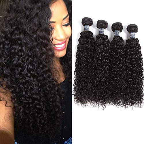 "Amella Hair Brazilian Virgin Curly Hair (14""16""18""20""400g) 4 Bundles Weave 8A 100% Unprocessed Brazilian Virgin Curly Hair Bundles Natural Color Brazilian Kinky Curly Hair Weave Bundles"