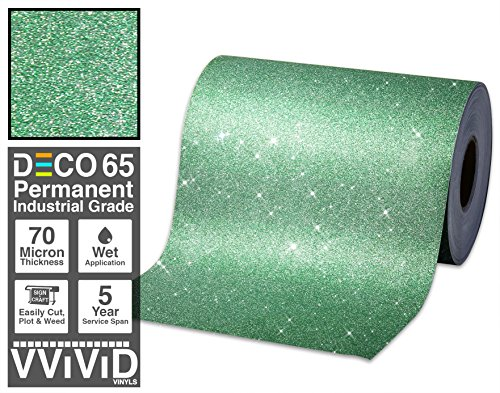 Thermal Transfer Film Roll (VViViD Glitter Green DECO65 Permanent Adhesive Craft Vinyl 1ft x 6ft Roll for Cricut, Silhouette & Cameo)
