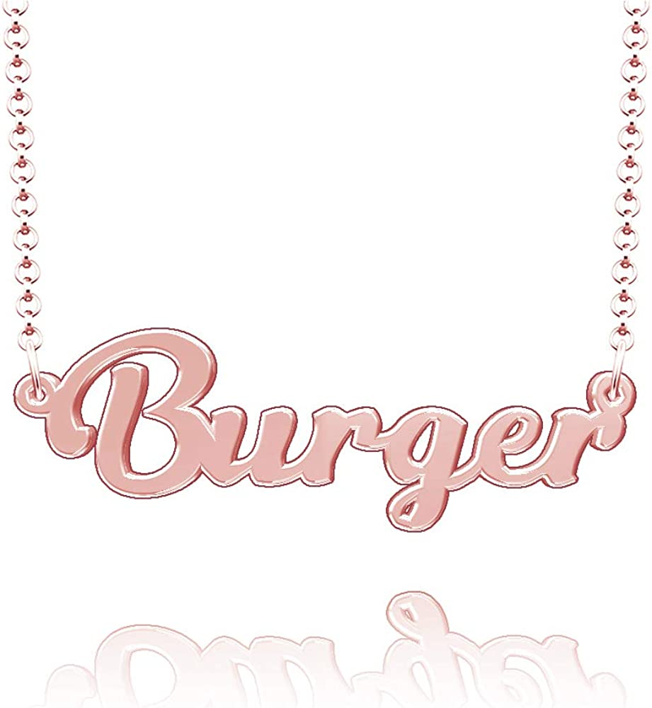 LoEnMe Jewelry Burger Name Necklace Stainless Steel Plated Custom Made of Last Name Personalized Gift for Family