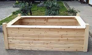 Cedar Seating Raised Bed, 4 posts, 4'W x6'L x 2'H