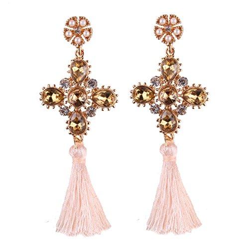 Cross Tassel Long Earrings Simulated Pearl Luxury Color Glass Drop Dangle Earrings Women White