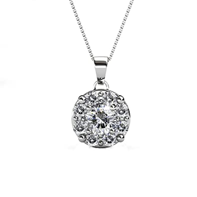 7c3016302947e Cate   Chloe Ruth White Gold Pendant Necklace with Swarovski Crystals,  Beautiful Halo Silver Necklace