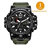 1 PCS SMAEL Men's Military Analog Digital Watch Outdoor Sports Waterproof Watches Double Electronic Quartz Movement Backlit Army Tactical Watch