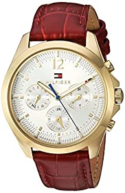 Tommy Hilfiger Women's Quartz Gold-Tone and Leather Watch, Color:Red (Model: 1781702)