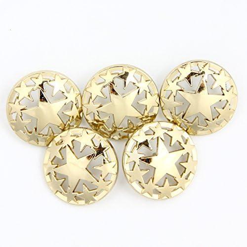 【ハンドメイド工房】コンチョ ボタン 23㎜ 透かしデザイン 星 ゴールド 5個セット