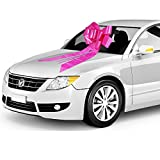 """Zoe Designs - 23"""" Big Car Bow with 2 Gold Accessory Bows (23"""" Pink, 1 Pack), also great for Appliances, Giant Presents, Great Decor for Surprise Party, Wedding Reception, Anniversary, Baby Shower"""