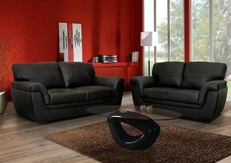 Mobilier Deco - Conjunto de sofás 3 + 2 plazas, color negro ...